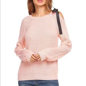 Sweaters - Cold Shoulder Knitted Long Sleeve Pullover Sweater